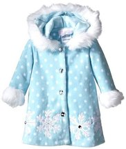 Bonnie Baby Baby-Girls Snowflake Appliqued and Fur Trim Fleece Coat (6/9M, Blue)