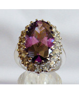 CZ Collection Silver Plated Ring Oval Cut Purple CZ Crystal stone Size 6.5 - $35.64