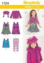 Simplicity Easy-to-Sew Pattern 1724 Toddlers Jumper or Top, Jacket, Flee... - $2.50