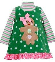 BABY GIRLS Gingerbread Girl Snowball Dot Fleece Jumper Dress (12 Montsh, Lime) - $34.55