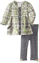 Bonnie Baby Girls' Plaid To French Terry Legging Set, Sage, 18 Months [Apparel]