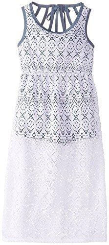 882921e0630 Little Girls White Blue Sleeveless Crochet Overlay Romper-Maxi Dress ...