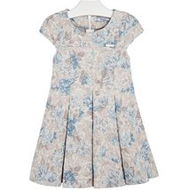 Mayoral Little Girls Floral Print Scuba Knit Fit and Flare Dress, 075-Sky, 3
