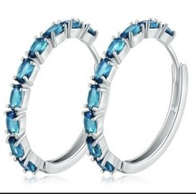 925 Sterling Silver Pl Aquamarine hoop earrings [EAR-126] - $12.02