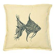 Vietsbay's Abstract Fish Printed Khaki Decorative Throw Pillows Case VPL... - $14.39