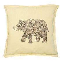Vietsbay's Rhinoceros-3 Printed Khaki Decorative Throw Pillows Case VPLC_02 - $14.39