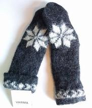 VARMA ICELAND Icelandic Brushed Wool Mittens Black Eight 8 Leaf Rose NWT - $546,75 MXN