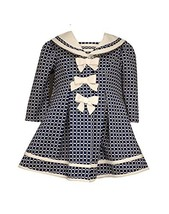 Baby Girls Three Bow Check Jacquard Dress/Coat Set, Bonnie Baby, Navy, 18M