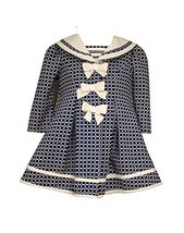 Baby Girls Three Bow Check Jacquard Dress/Coat Set, Bonnie Baby, Navy, 24M