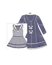 Bonnie Jean Little Girls Check Jacquard Sailor Dress and Coat Set, Navy, 6X