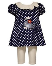 Little Girls Polka Dot Whale Applique Nautical Dress/Legging Set, Bonnie Jean... - $38.51