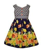 Bonnie Jean Little Girls Stripe To Lemon Print Dress, Navy, 4 [Apparel]