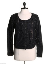 Womens Diesel Jeans Nylon Jacket Black w/ Splatter Detail Collarless sz S - $48.50