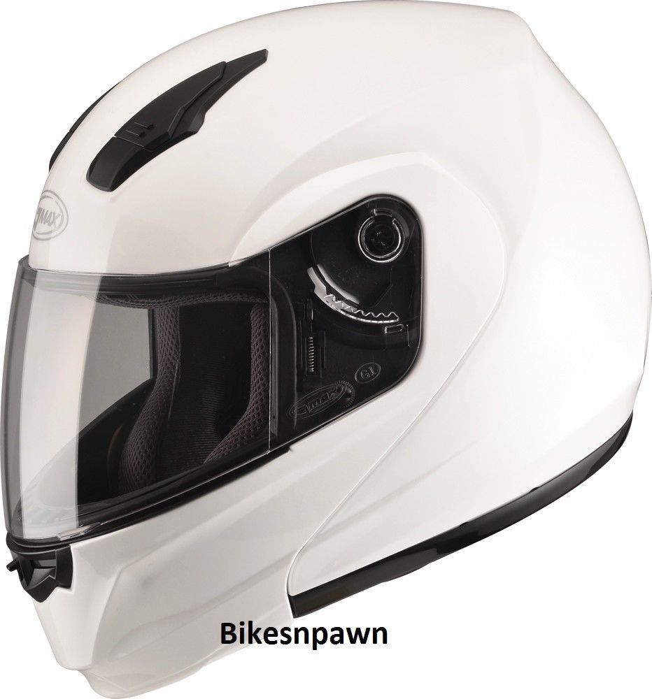 L GMax MD04 Pearl White Modular Street Motorcycle Helmet DOT