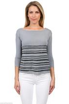 NEW Bailey 44 Intaglio Top Boat Scoop Neck 3/4 Sleeve Shirt Gray Black s... - $44.54