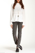 NWT $128 Free People Vegan Leather Suede Legging Jodhpur Pants in Grey sz 2 - $39.59