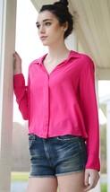 NWT $98 Splendid Rayon Voile Button Down Shirt in Raspberry Pink sz XS - $28.71