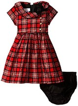 Bonnie Baby Baby-Girls Infant Corduroy Printed Plaid Dress, Red, 18 Months - $34.55