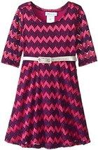Bonnie Jean Tween Big-Girls 7-16 Metallic Lurex Chevron Stripe Belted Knit Dr...