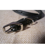 """real leather black dog collar - Made in USA - 9.5"""" to 11.5"""" - $11.00"""