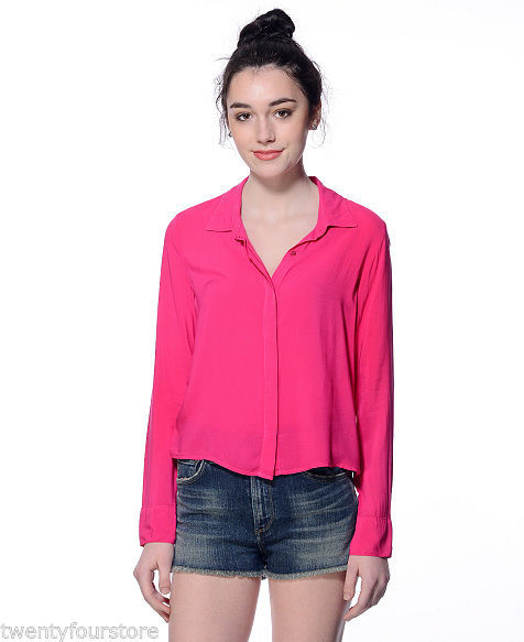 NWT $98 Splendid Rayon Voile Button Down Shirt in Raspberry Pink sz XS