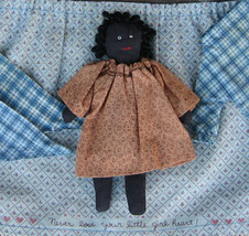 Handmade Black Americana Cloth Girl Doll Dress Material Mini Primitive M... - $25.19