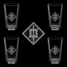 Us Army 18th Engineer Brigade Ssi 4 Glass Set - $34.64
