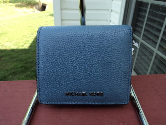 62fcedf8c3d02c S l1600. S l1600. Previous. Authentic Michael Kors Mercer Carryall Card  Case Wallet Denim Pebbled Leather
