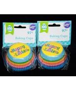 100 Wilton Cupcake Standard Liners HAPPY EASTER RAINBOW Baking Cups SPRI... - $7.82