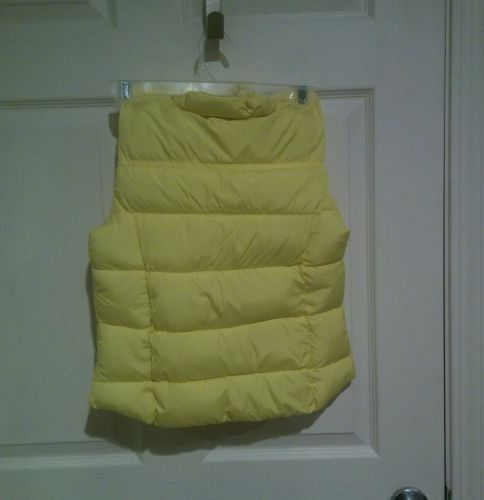 NWT ARIZONA JEANS Woman XS Toggle Puffer Vest Coat Yellow Sun Brown Faux Leather