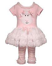 Bonnie Jean Toddler Girls Lamb Appliqued Playwear Set, Pink, 4T [Apparel]