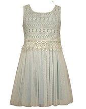 Little Girls Sleveless Crochet Lace Popover to Tulle Dress, Bonnie Jean, Aqua, 4