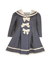 Baby Girls Three Bow Check Jacquard Dress/Coat Set, Bonnie Baby, Navy, 3/6M