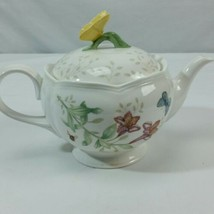 LENOX Butterfly Meadow Teapot with Lid 5 cup kisses Tea Pot White - $48.99