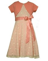 Bonnie Jean Little Girls Floral Lace Cardigan Dress, Coral, 5 [Apparel]
