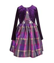 Bonnie Jean Little Girls Sequin Waist Plaid Dress With Cardigan (2T) [Apparel]