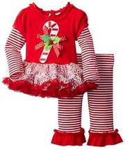 Rare Editions Baby Baby-Girls Newborn Candycane Applique Tutu Legging Set (12...