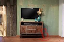 "Rustic 52"" Gabriel TV Stand Western Real Wood Industrial Wheels Cabin Lodge - $791.01"
