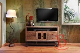 "Rustic 62"" Gabriel TV Stand Western Real Wood Industrial Wheels Cabin Lodge - $890.01"