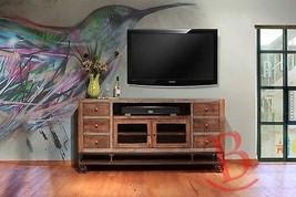 "Rustic 76"" Gabriel TV Stand Western Real Wood Industrial Wheels Cabin Lodge - $989.01"