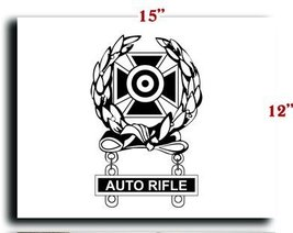 US Army Badge Marksman Badge Expert w Auto Rifle Qualification Bar CANVAS art... - $20.78