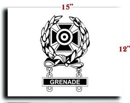 US Army Badge Marksman Badge Expert w Grenade Qualification Bar CANVAS art pr... - $20.78
