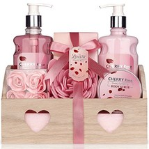 Spa Gift Basket - Bath and Body Works Set with Cherry Rose Scent For Wom... - £28.04 GBP