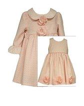 Bonnie Jean Little Girls Check Jacquard Dress and Coat Set, Pink, 6X [Apparel]