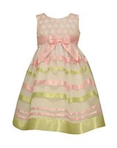 Bonnie Jean Toddler Girls Embroidered Circle Ribbon Dress, Pink, 2T [Apparel]