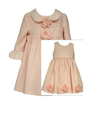 Baby Girls Bell Sleeve Rosette Jacquard Dress/Coat Set, Bonnie Baby, Pink, 0/3M