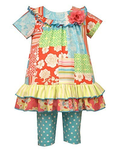Baby Girls Mix Print Patchwork Knit Dress/Legging Set, R0-BBNI-RST16, Bonnie ...