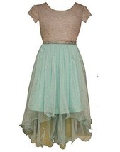 Little Girls Foil Knit To High-Low Wire Hem Dress, Bonnie Jean, Aqua, 5