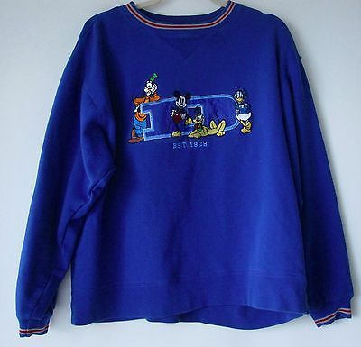 Disney Sweatshirt Medium Blue Mickey Mouse Friends Crew Neck M Pullover