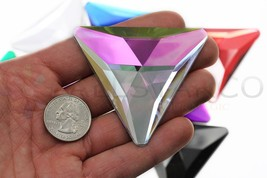 68mm Crystal AB H702 Flat Back Triangle Acrylic Gems High Quality  2 PCS - $13.77